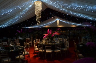 Crystal chandeliers at Sergeant's Mess Ball marquee hire Blandford westernmarquees.co.uk
