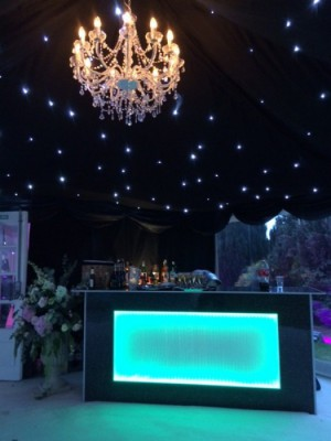 Black sparkle bar unit for hire westernmarquees.co.uk