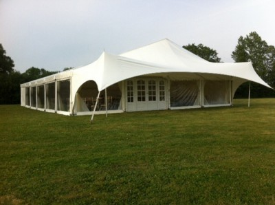 Fiesta canopy entrance on 12m marquee for hire westernmarquees.co.uk